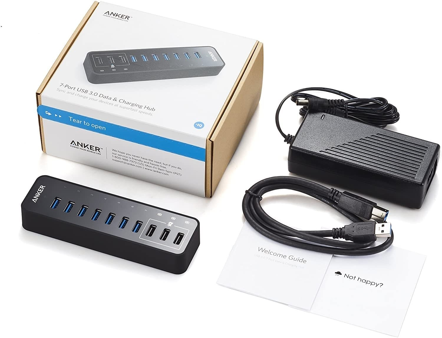 Anker 10-Port 60W USB 3.0 Hub with 7 Data Transfer Ports and 3 PowerIQ Charging Ports, AK-A7515111