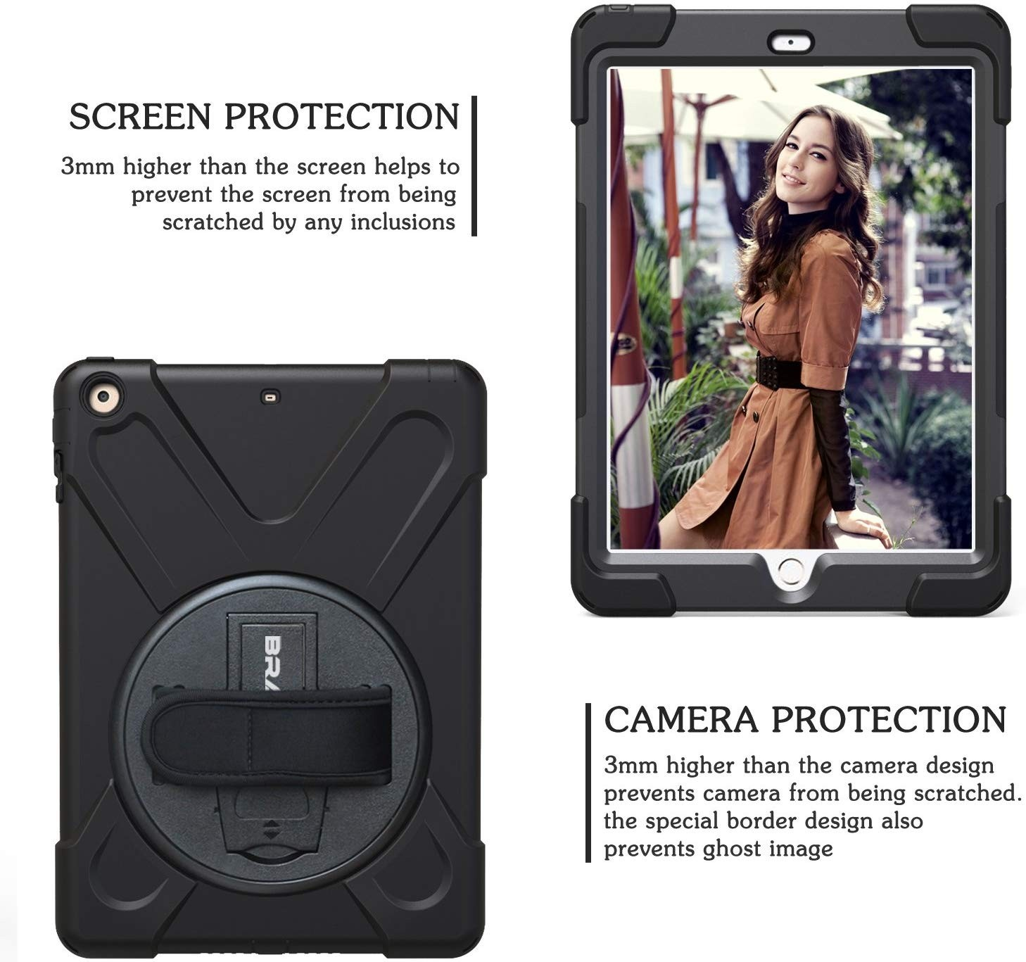 BRAECN iPad Air Shockproof Case [Heavy Duty] Full-Body Rugged Protective Case with a 360 Degree Swivel Kickstand/a Hand Strap/a Shoulder Strap for Apple iPad Air - Black, HD-AIR-BLK