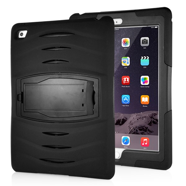 Shockproof Hybrid Stand Case for iPad Air 2 - Black, IPD6-RUG-67838