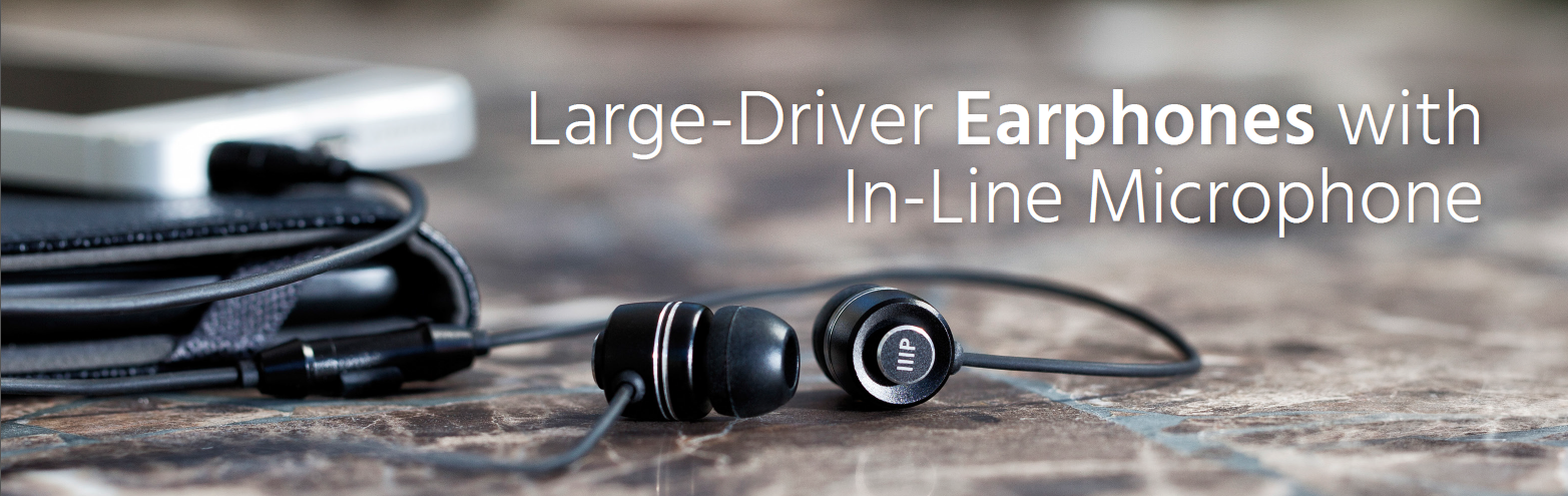 Large-Driver Earphones with In-line Microphone Black, 14088