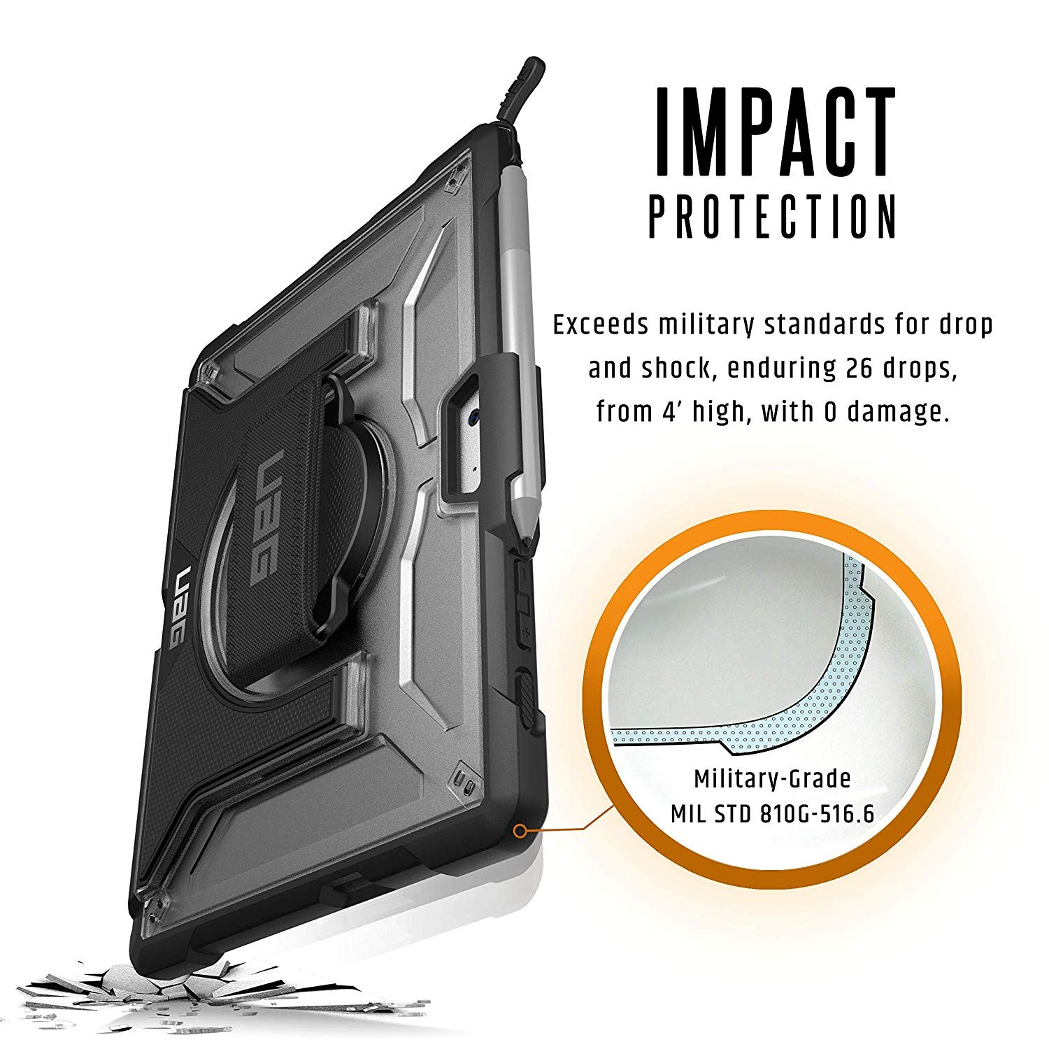 UAG Microsoft Surface Go with Hand Strap & Shoulder Strap Plasma Feather-Light Rugged Military Drop Tested Case - Ice, 321073114343