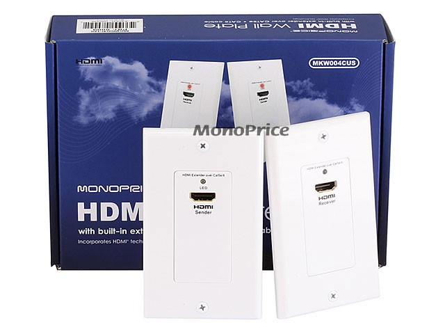 HDMI Over CAT5E / CAT6 Extender Wall Plate (Pair) - Single Port (1P) - White, WALL-8009