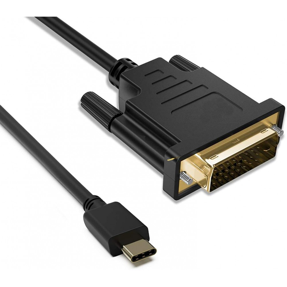 T Tersely USB-C to DVI Gold Plated Type C to DVI Cable, Compatible with MacBook Pro/MacBook/Chromebook Pixel/Dell XPS 13 /Yoga 910/920/Samsung Note S20,S10,S9,S8 - 1.8M, Black, B085RT5C98