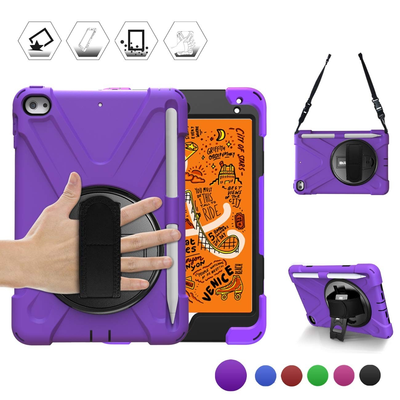 Breacn iPad Mini 5 Case,iPad Mini 4 Case, Heavy Duty Shockproof Protective Rugged Case with Pencil Holder, Hand Strap, Kickstand, Shoulder Strap for iPad Mini 5th/4th Generation 7.9 Inch for Kids - Purple, B07T96KZRN