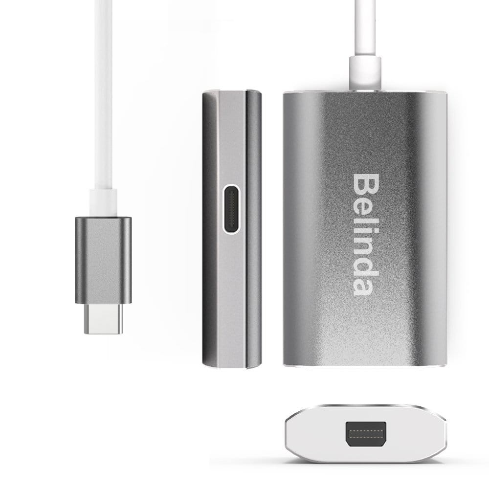 Belinda USB C Type to Mini DisplayPort/Mini DP Adapter Cable With Power Aluminium Case Support 4K 60HZ resolution for Apple New Macbook Pro 2017 - Space Grey, B073M3P8VL