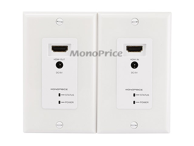 HDMI Over CAT5E / CAT6 Extender Wall Plate w/ LED Indicator (Pair) - Single Port (1P) - White, WALL-8200