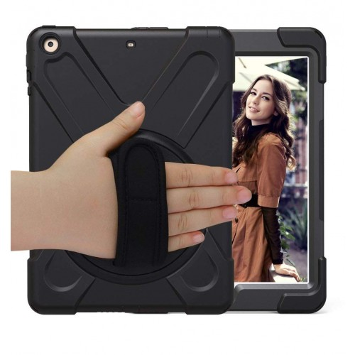 BRAECN Three Layer Heavy Duty Soft Silicone Hard Bumper Case Built-in Stand+Hand Strap+Shoulder Strap Shockproof Durable Rugged Case for iPad 9.7 (2018/2017)  - Black