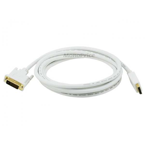 3m 28AWG DisplayPort to DVI Cable - White, DP-DVI-6016