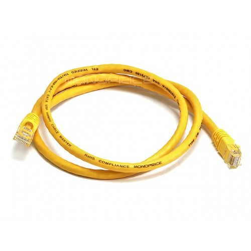 0.9m 24AWG Cat6 550MHz UTP Ethernet Bare Copper Network Cable - Yellow