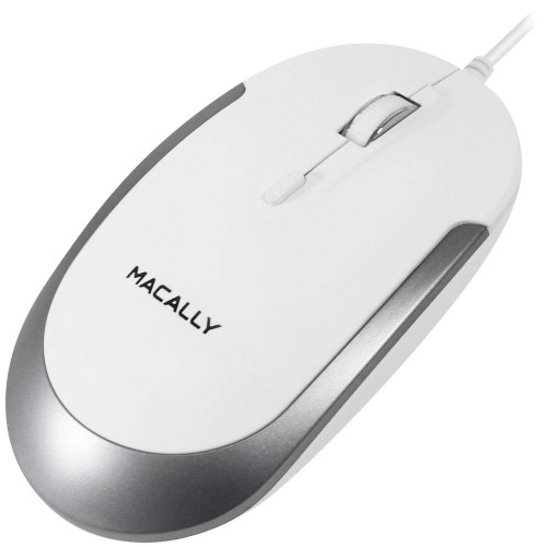 Macally Silent USB Mouse Wired for Apple Mac or Windows PC Laptop/Desktop Computer, Small for Easy Travel  - White, Aluminium Colour