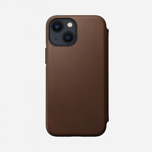 Nomad Modern Leather Folio Case For iPhone 13 Mini - Rustic Brown, NM01072485