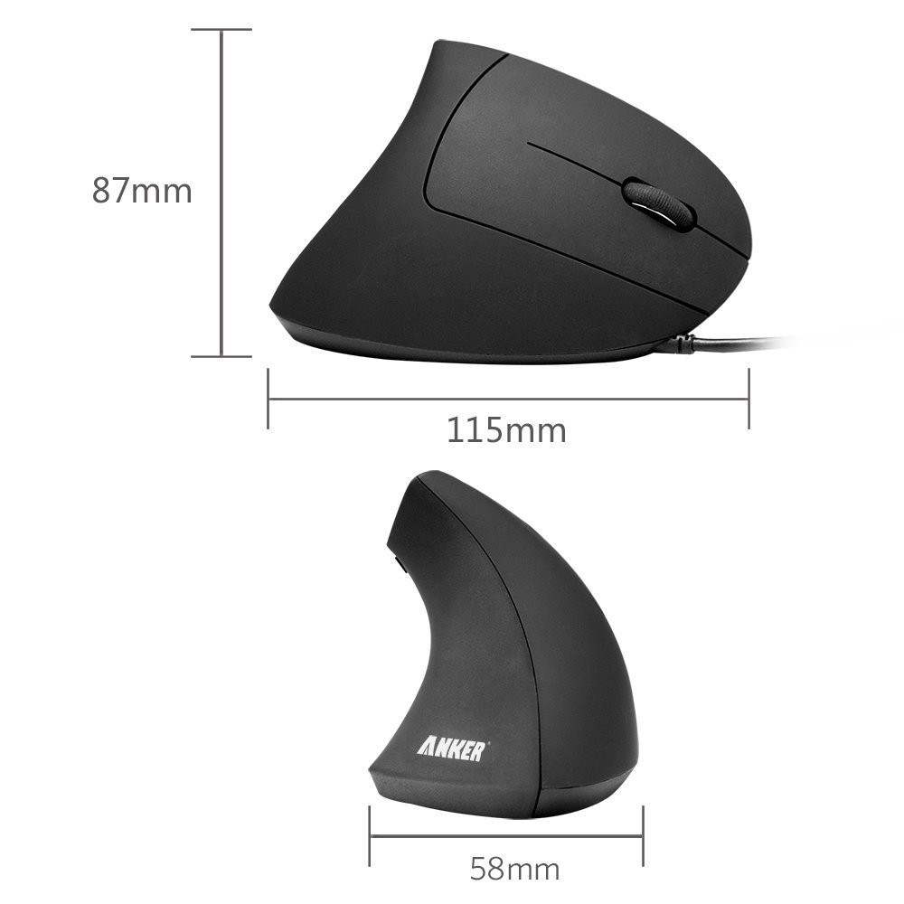 Anker® Ergonomic Optical USB Wired Vertical Mouse 1000 / 1600 DPI, 5 Buttons CE100, B00FPAVUHC