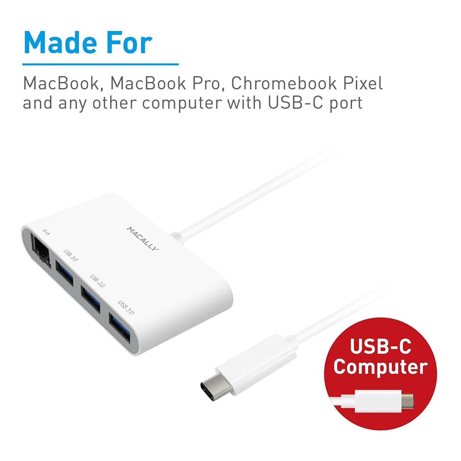 Macally USB-C to USB-A Hub with Ethernet Adapter, MACUCHUB3GB