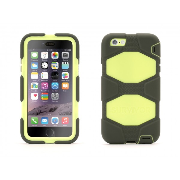 Griffin Survivor Extreme-Duty Case for iPhone 6 Plus - Olive/Lime, IPH6+EXT-GB40550