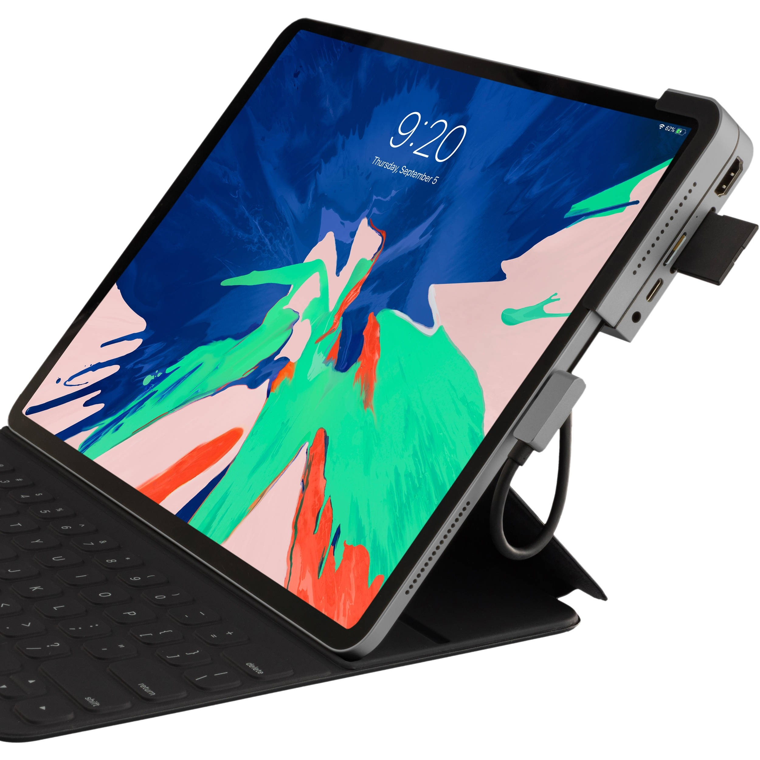 """Xcellon 6-in-1 Multiport USB Type-C Docking Station for 10.9, 11 & 12.9"""" iPad Air and Pro - Space Gray, XCIPPD6SG"""
