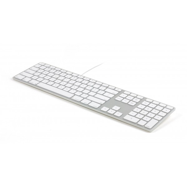 Matias Wired Aluminium Keyboard for Mac, RGB backlit keys - White/Silver, FK318LS