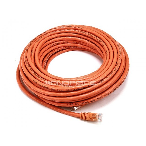 15m 24AWG Cat6 500MHz Crossover Ethernet Bare Copper Network Cable - Orange, ETH-2388