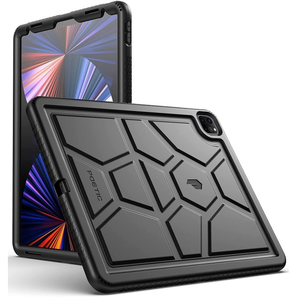 Poetic TurtleSkin Heavy Duty Case Designed for iPad Pro 12.9 4th/3rd Generation, Rugged Shockproof Drop Protection Kids Friendly Silicone Cover Case - Black, B094SQFQRW
