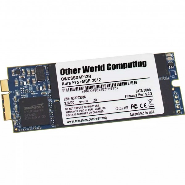 500GB OWC Aura Pro 6G Solid-State Drive SSD for 2012-13 MacBook Pro with Retina display, OWCS3DAP12R500