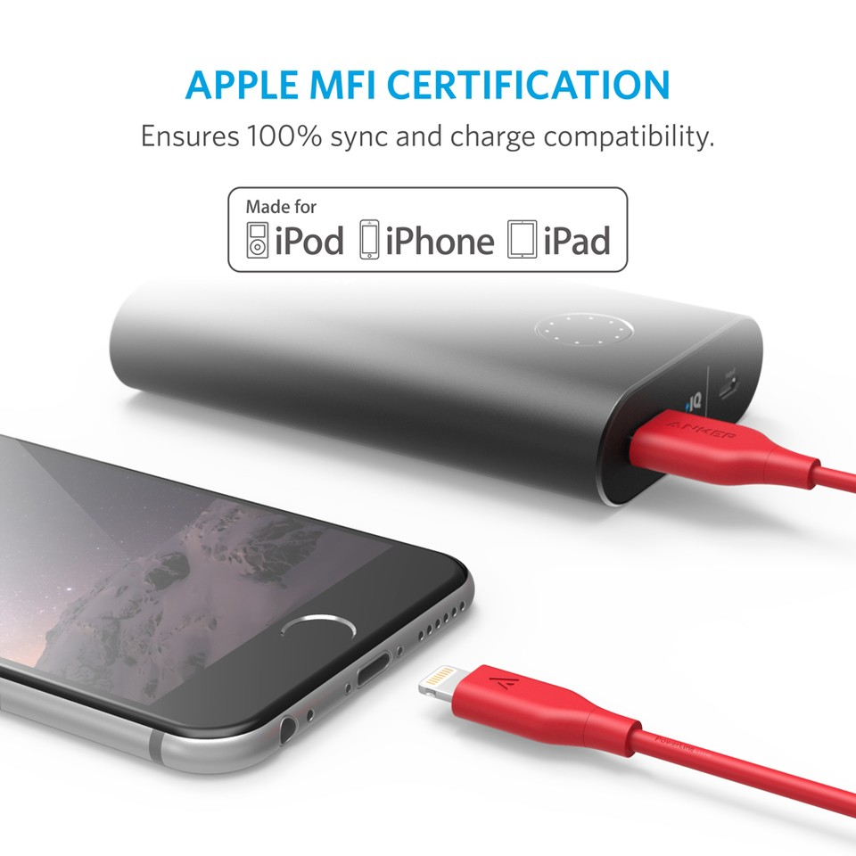 Anker PowerLine Lightning Apple MFi Certified Lightning Cable / Charger Cord, for iPhone & iPad - 3m Red, AK-A8113091
