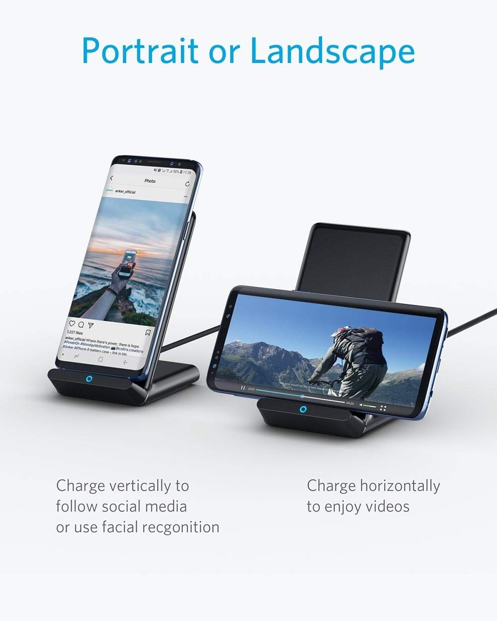 Anker Fast Wireless Charger, 10W Wireless Charging Stand, Qi-Certified, Compatible with all iPhone Models, AK-A2524011