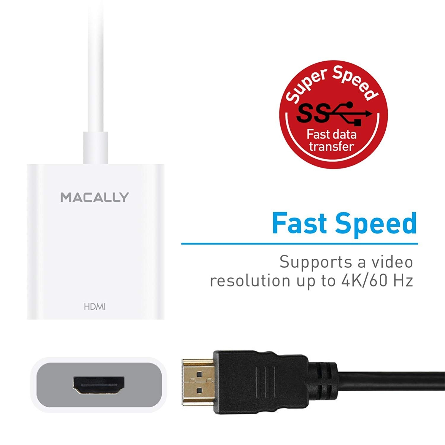 Macally USB-C to HDMI Adapter (4K/60Hz) - Thunderbolt 3 Compatible Converter for USB Type C , UCH4K60