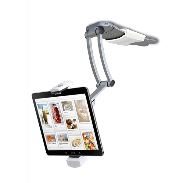 CTA Digital 2-in-1 Kitchen Tablet Stand and Adjustable Wall Mount - for iPad 2018/iPad Pro 12.9/iPad mini/Galaxy Tab S3 and more, B00I4I92C2