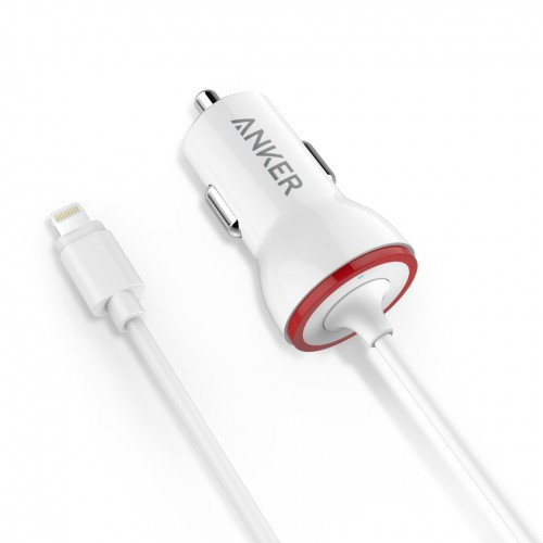 **DISCONTINUED**Anker PowerDrive Lightning (12W Car Charger with 3ft Lightning Cable) Apple MFi Certified iPhone Car Charger for iPhone 6s/ 6s Plus / 6 / 6 Plus, iPad Air 2 and More - White