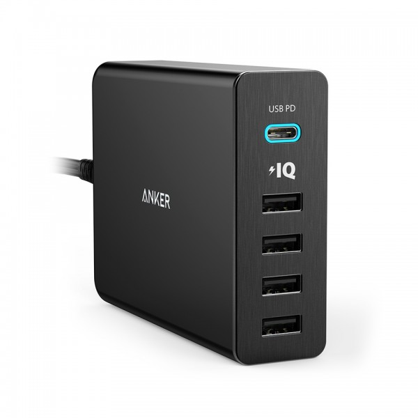 Anker USB Type-C Premium 5-Port 60W USB Wall Charger PowerPort+ 5 USB-C with Power Delivery, A2053T11