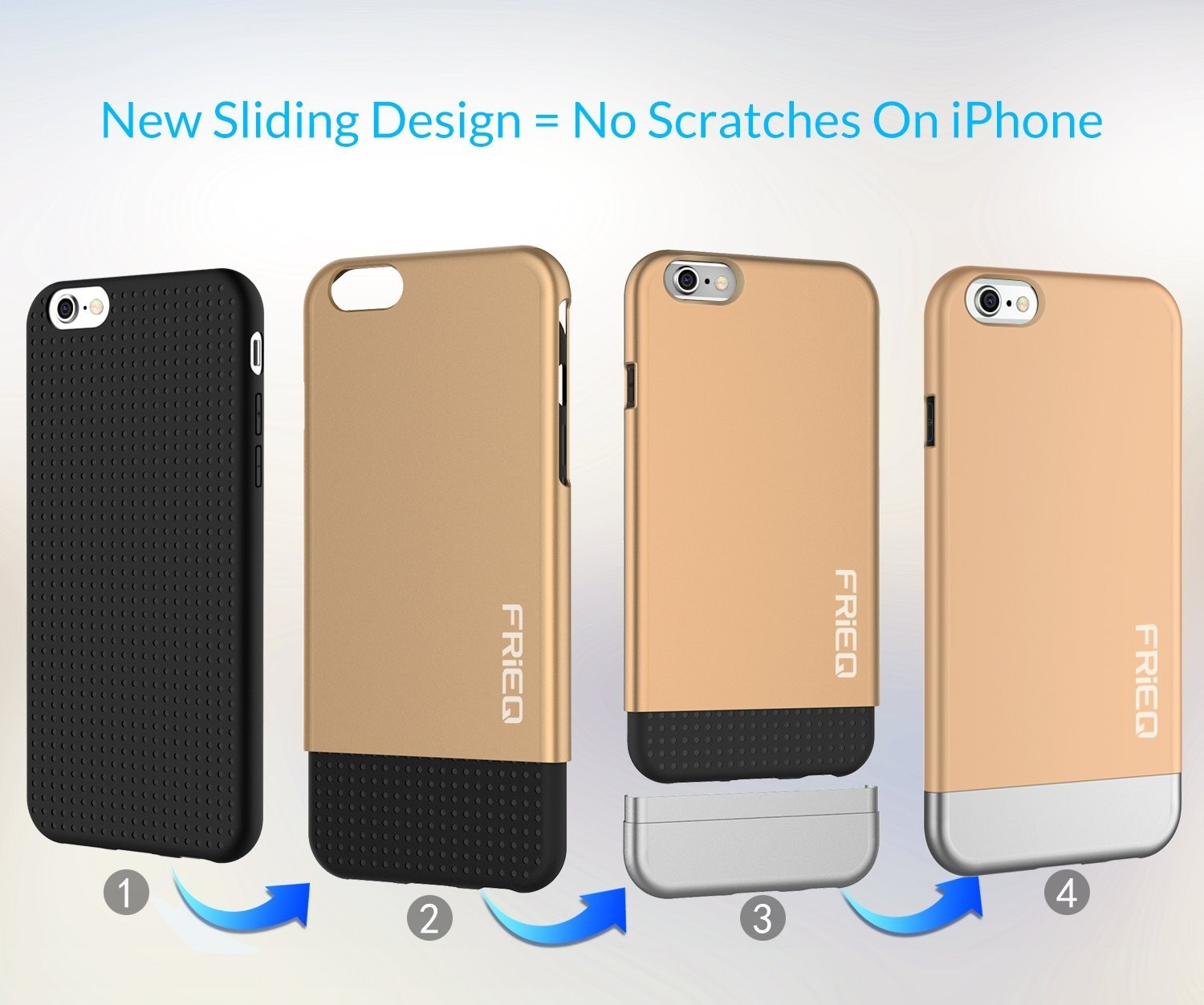 """iPhone 6 Case, FRiEQ Dual Layer Protection Slim Trendy Hard Case for Apple iPhone 6 (4.7"""") - Safe from Drops and Slips - Gold, FR-DLP-GD"""