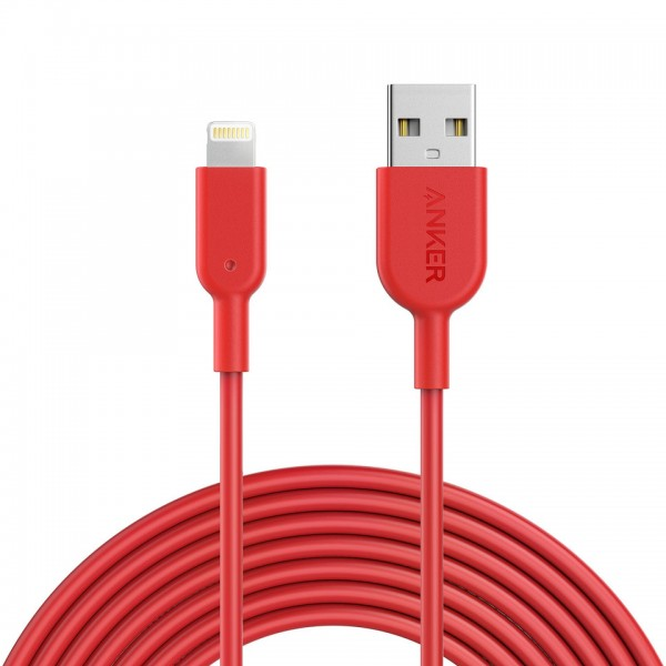 Anker PowerLine II Lightning 12000 bend, MFI certified TPE 3m - Red, A8434H91