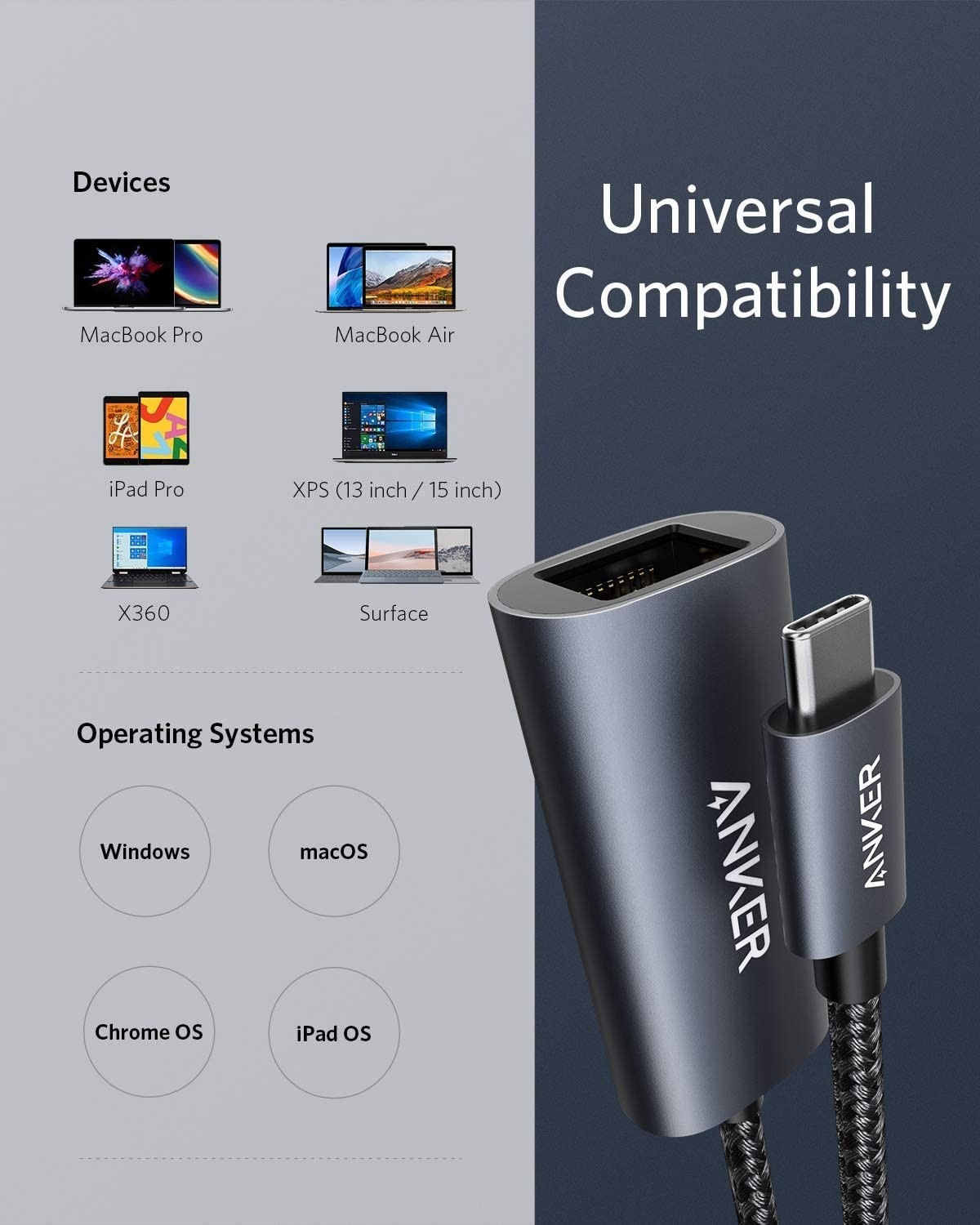Anker USB C to Ethernet, Aluminum Portable Adapter, AK-A83130A1