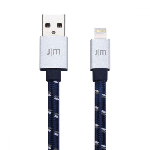 Just Mobile AluCable Flat Braided Lightning Cable 1.2m - Blue/Silver, DC-268BSI