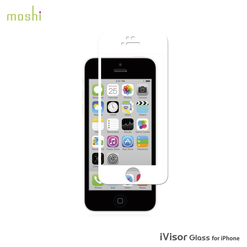 Moshi iVisor Glass Screen Protector for iPhone 5/5s/5c - White, *IPH5-GLASS-WH