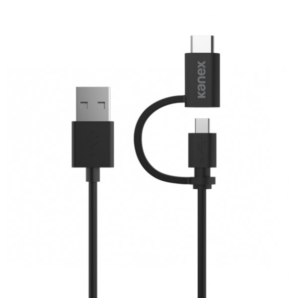 Kanex USB-C ChargeSync Cable with Micro-USB Adapter, 1.2 m - Black, K181-1122-BK4F