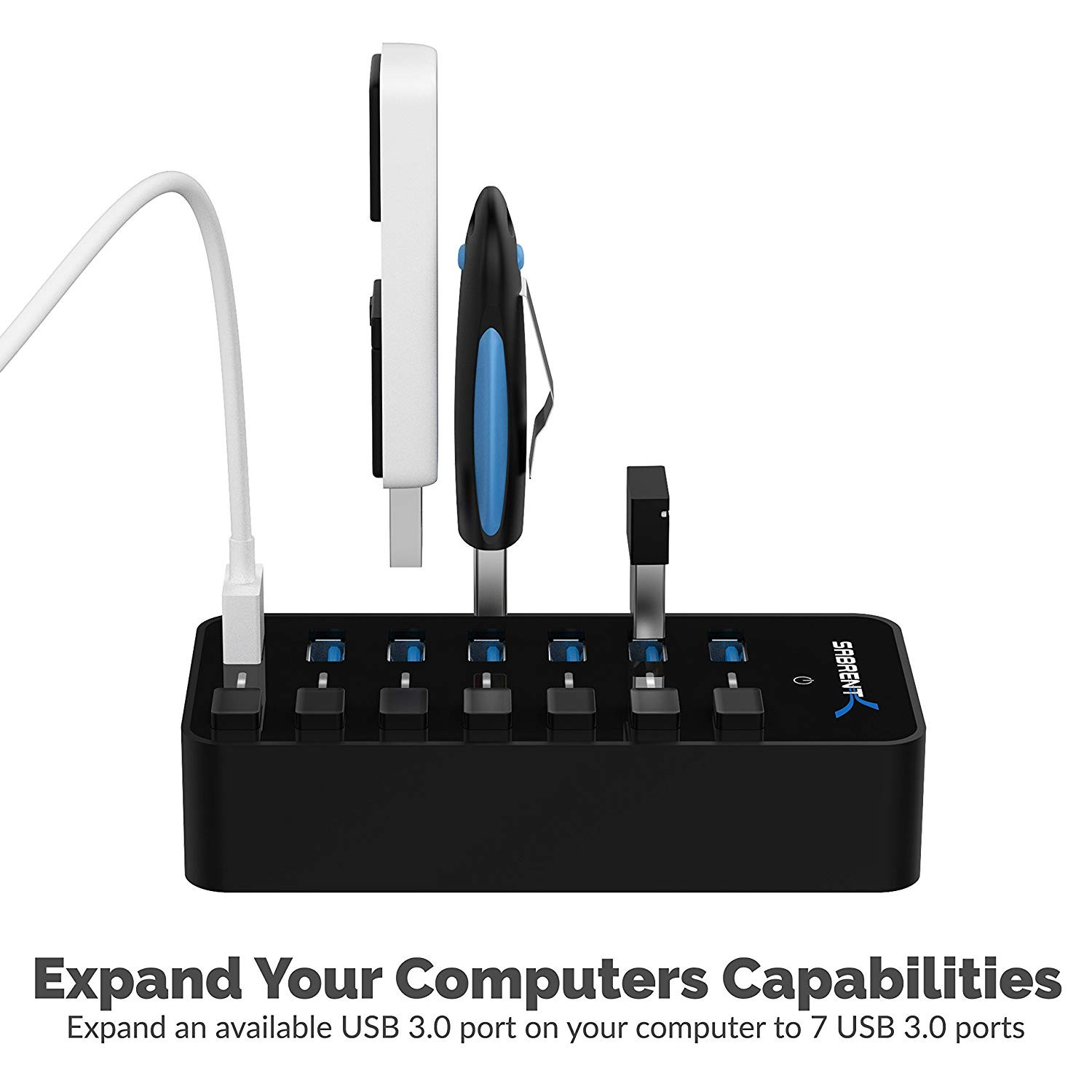 Sabrent 36W 7-Port USB 3.0 Hub with Individual Power Switches and LEDs includes 36W 12V/3A power adapter, HB-BUP7