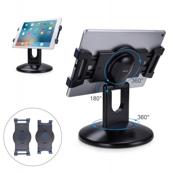 AboveTEK Retail Kiosk iPad Stand, 360° Rotating Commercial Tablet Stand, 6-13.5 iPad Mini Pro Business Tablet Holder, Swivel Design for Store POS Office Showcase Reception Kitchen Desktop - Black, B073WHV11Z