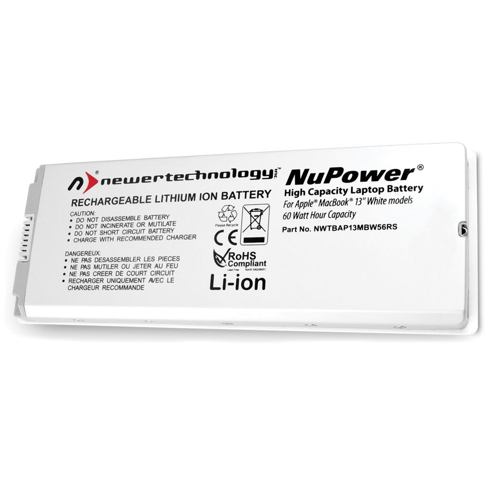 """NewerTech NuPower  65 Watt-Hour Battery for MacBook 13.3"""" White Pre-Unibody, NWTBAP13MBW65RS"""