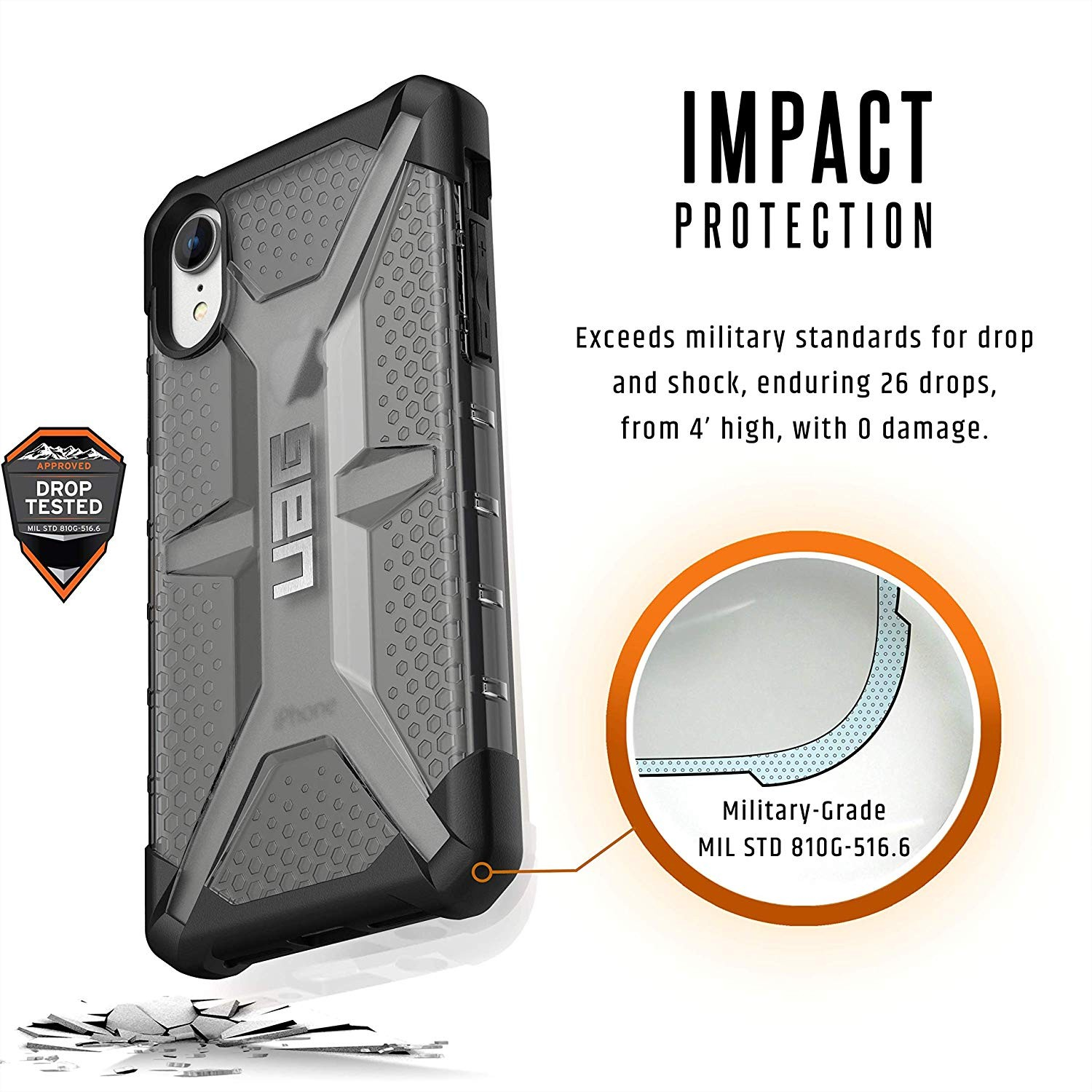 Urban Armor Gear Phone XR Plasma Feather-Light Rugged Military Drop Tested iPhone Case - Ash, 111093113131