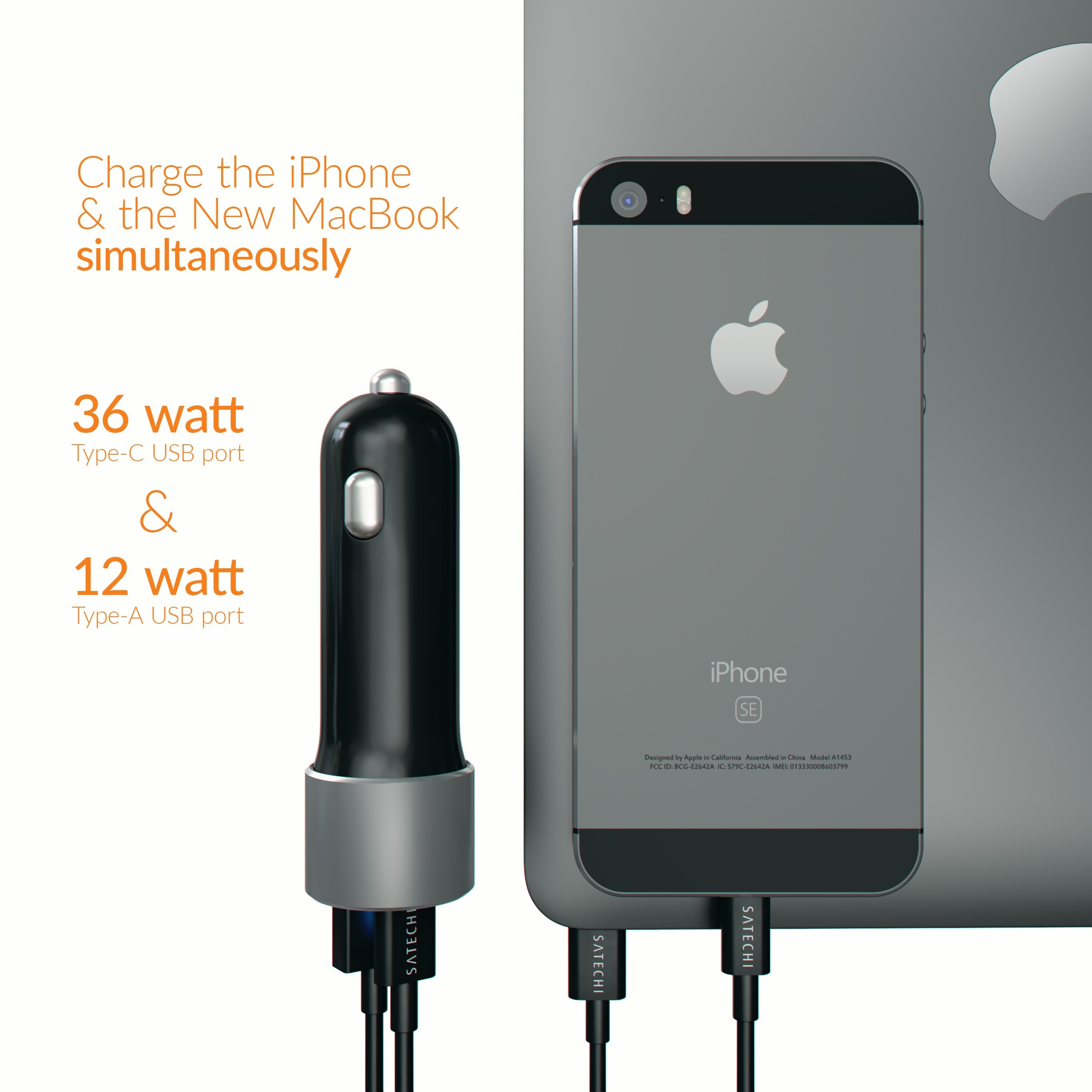 Satechi 72W USB-C PD Car Charger - Space Gray, ST TCPDCCM