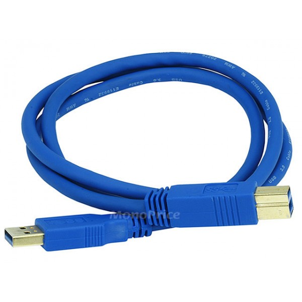 0.9m USB 3.0 A Male to B Male 28/24AWG Cable (Gold Plated), USB3-AB-6508