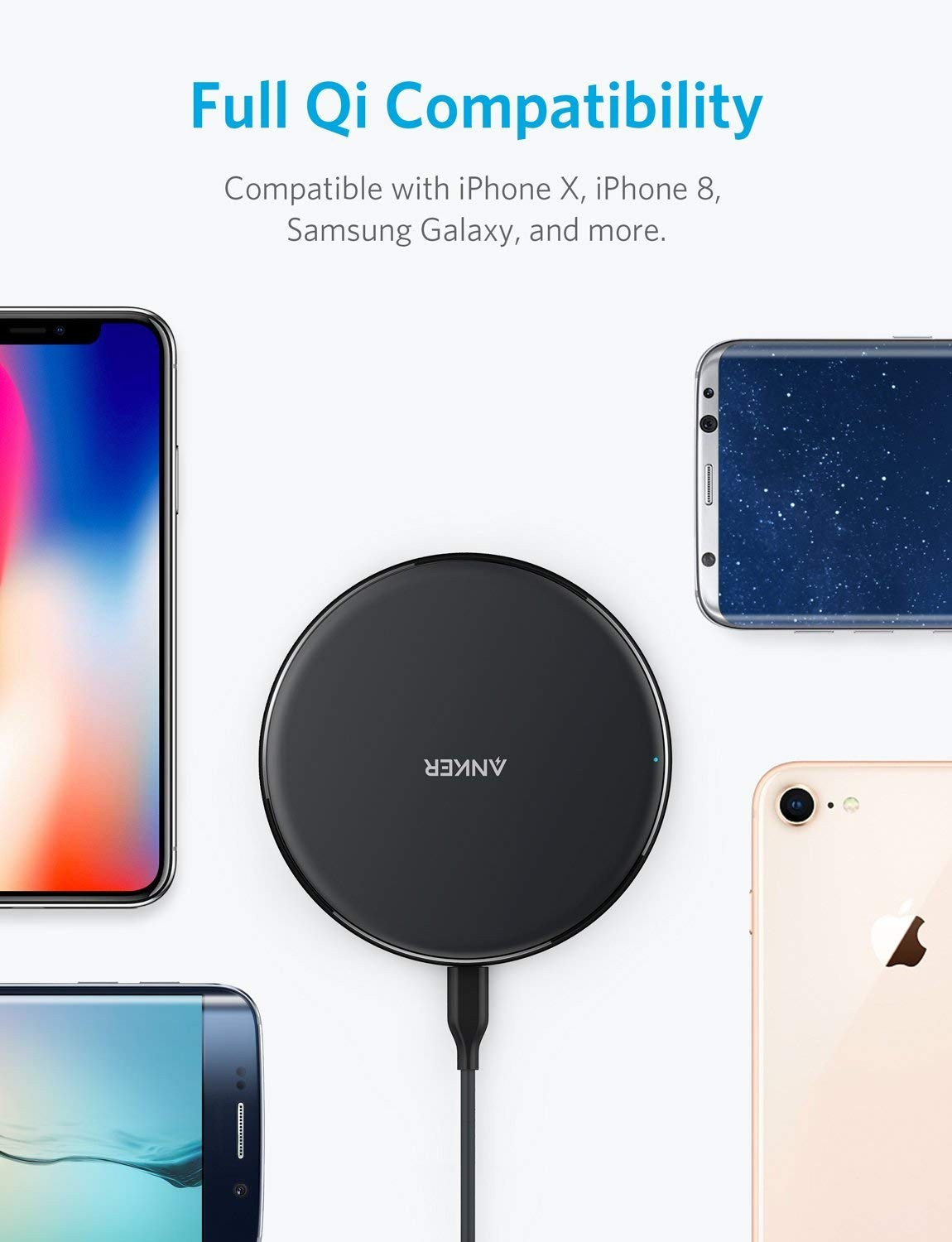 Anker PowerPort Wireless 5 Pad Wireless Charger, Anker Qi-Certified Ultra-Slim Wireless Charger, A2503