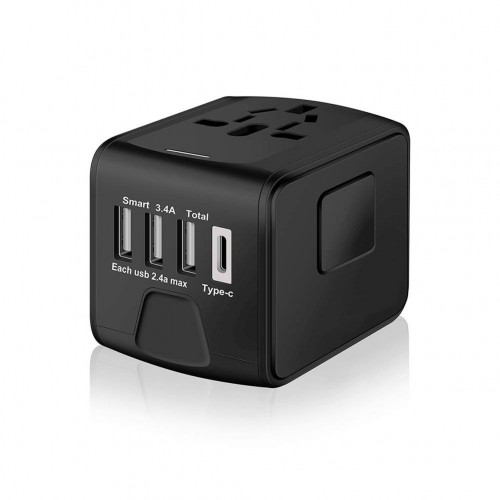 SAUNORCH Universal International Travel Power Adapter W/High Speed 2.4A USB, 3.0A Type-C Wall Charger - Black