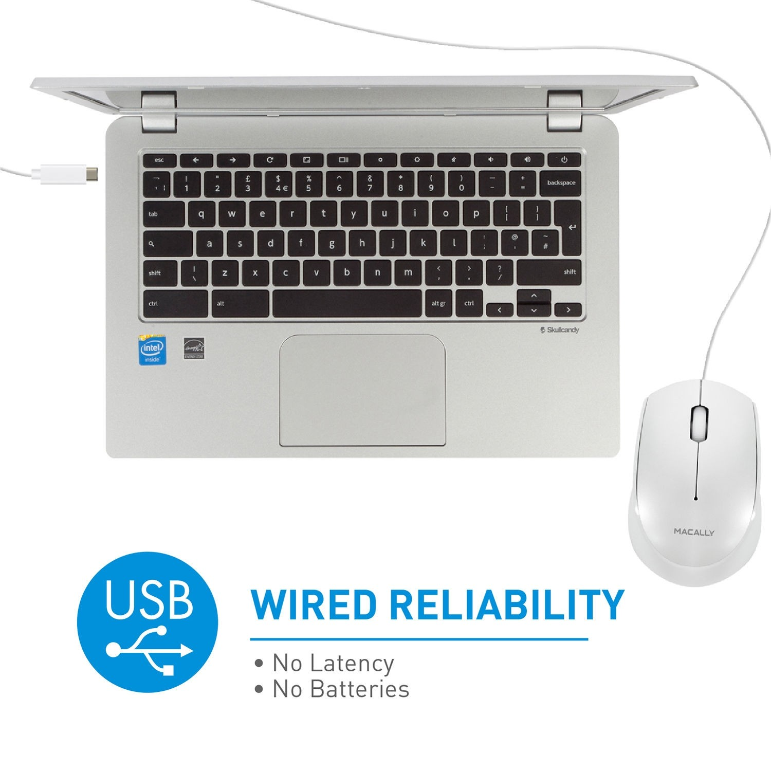 Macally 3 Button Optical USB-C Wired Mouse for Mac and PC - White, UCEZMOUSE