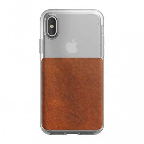 Nomad Horween Leather Clear Case for iPhone X/Xs - Rustic Brown