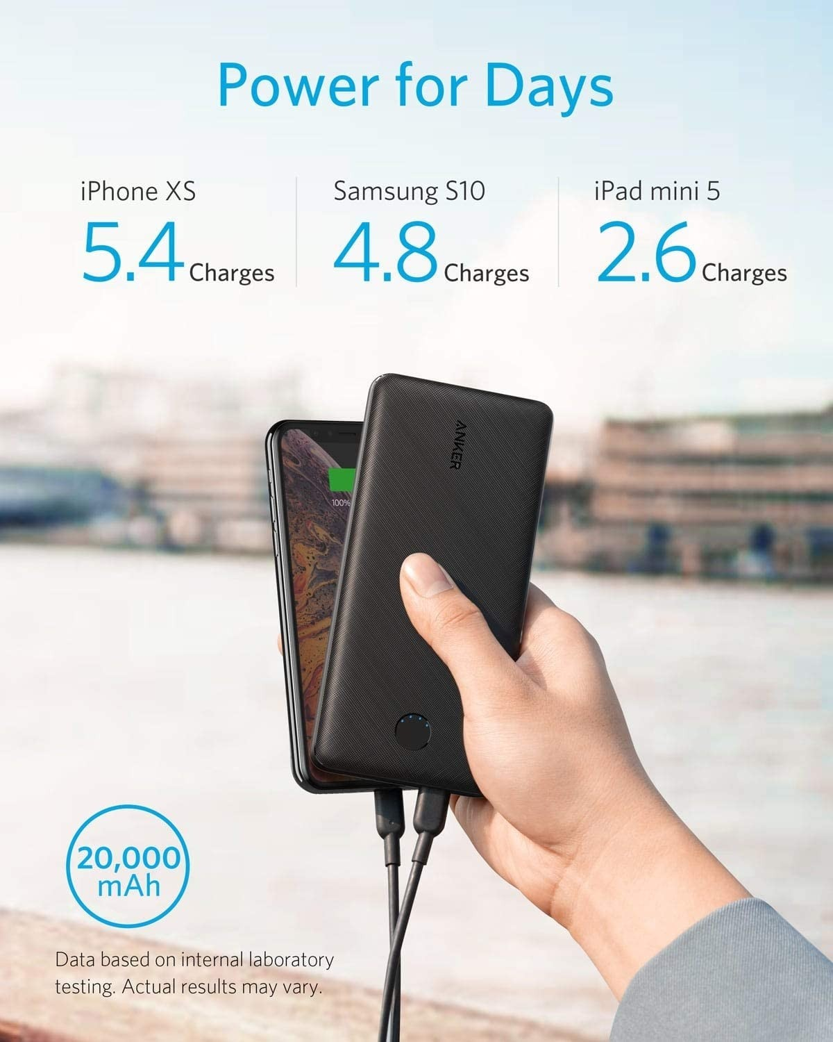 ANKER PowerCore Essential 20000 PD - Black Fabric, A1281T11