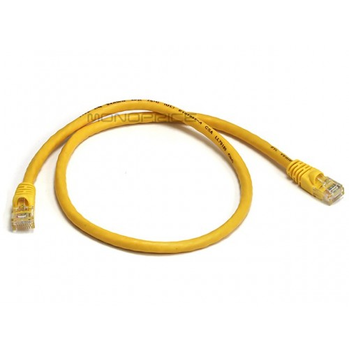 Monoprice 2FT 24AWG Cat6 550MHz UTP Ethernet Bare Copper Network Cable - Yellow - 70cm
