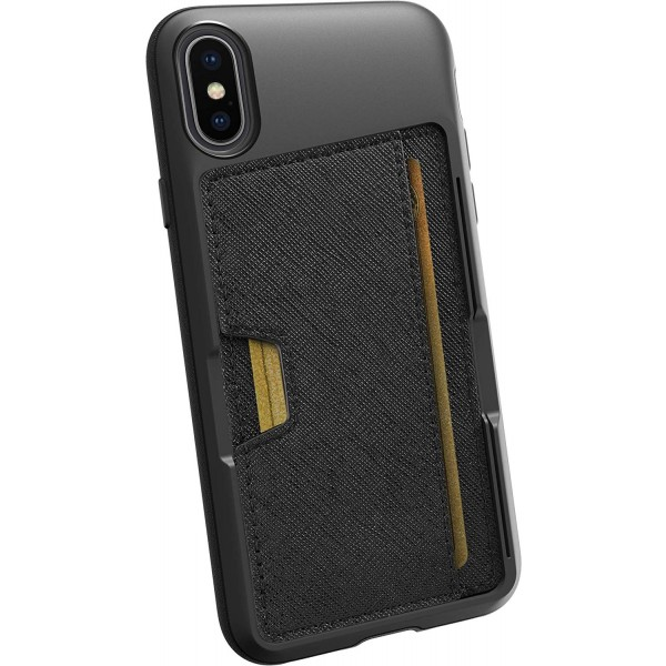 Smartish iPhone X/XS Wallet Case Vol. 2 - Credit Card Holder (Silk) - Black Tie Affair, QX-BLACK