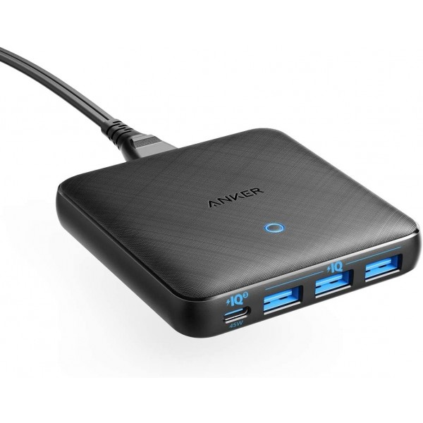 Anker PowerPort Atom III Slim with a 45W USB C Port, for MacBook, USB C Laptops, iPad Pro, iPhone, Galaxy, Pixel and More - Black Fabric, A2045T11