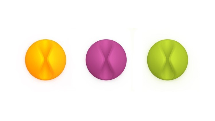 Bluelounge CableDrop - Cable Clips - Bright Colours, CD-BR